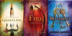 Graceling, Fire, Bitterblue by Kristin Cashore. Great books. Takes you into another world!