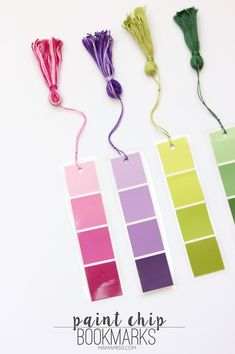 Paint Chip Bookmarks - a simple & inexpensive way (it'll only cost ya about to create a pretty little bookmark! Bookmarks for everyone - let's READ! Creative Bookmarks, Diy Bookmarks, Student Bookmarks, Crochet Bookmarks, Book Crafts, Paper Crafts, Crafts To Make, Crafts For Kids, Bookmark Craft