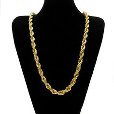 b18a9e144dd3 MCSAYS Men Jewelry Necklace Hip Hop 1cm Thick Rope Chain Twist Chain Gold   Silver Color · Joyas oroCollar ...