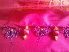 Saree tassels Saree Tassels Designs, Saree Kuchu Designs, Blouse Designs, Thread Work, Silk Thread, Saree Border, Blue Saree, Tatting Patterns, Hobbies And Crafts