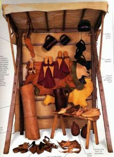 Small medieval market stall for a shoemaker-- ah, the good old days!