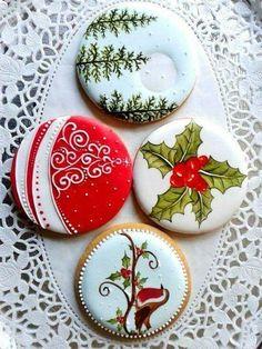 Beautiful Christmas cookies by ToniK ℬe Meℜℜy. Christmas Sugar Cookies, Christmas Sweets, Christmas Cooking, Noel Christmas, Holiday Cookies, Christmas Cakes, Fancy Cookies, Iced Cookies, Cookies Et Biscuits