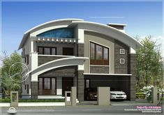 Title : Two Modern Villas Hidden by a single Facade: MIKI 1 House Description : Beautiful 3200 sqft modern villa exterior Home Kerala Plans July 2013 Home Design Ideas for You Posted by Unknown on Sabtu, 24 Maret 2018 Rating : 5 Duplex House Design, House Front Design, Small House Design, Modern House Design, Style At Home, Villa Design, Modern House Facades, Modern Architecture, Modern Houses