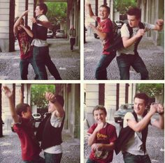 Connor and Josh Hutcherson doing some kind of brother dance beat down sort of thing..