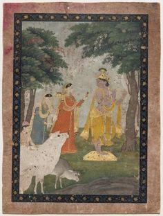 Gopis/ Wives of the Mathura Brahmans feeding pan to Krisna ; Indian, Pahari, about 1825–50 (second quarter 19th century) ; #MFA