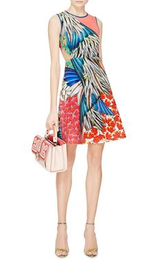 Carnival Printed Neoprene Cut-Out Dress by Clover Canyon - Moda Operandi
