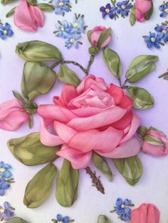 Ribbon embroidery rose