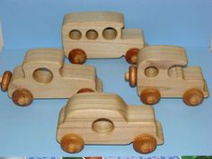 A rare collection - set of 4 Handcrafted, solid wood replicas of old time cars, smooth detailed made with solid poplar wood treated with all natural bees wax, safe,non toxic, soft and smooth to touch, these toys are well crafted, durable built to last. All wheels moves freely. Great