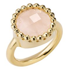 Portobello Rose Quartz Gold Cocktail Ring by Sharon Mills London ($130) ❤ liked on Polyvore featuring jewelry, rings, yellow, rose quartz rose gold ring, rose quartz ring, gold cocktail rings, gold jewelry and beaded jewelry