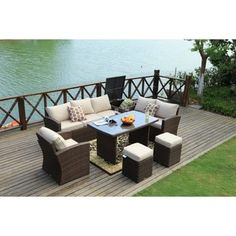 Outdoor Sofa Set Wicker Patio Sectional Furniture by Moda Furnishings (Brown), Patio Furniture (Steel)