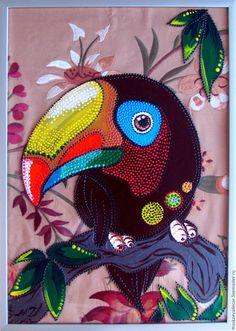 Купить картина, рисунок на стекле, точечная роспись Тукан 21 х 30 см