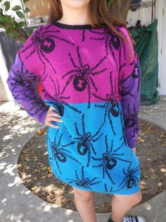 RARE Betsey Johnson Vintage Punk Collection Spider Sweater Dress - One Size #BetseyJohnson