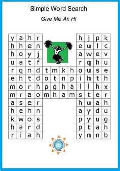 """""""Give Me An H"""" is a fun, for kids of all ages. They'll be h-h-happy as they look for 20 words in the puzzle, all beginning with the letter H. This is on of the many free puzzles at Easy Word Search, Kids Word Search, Word Search Games, Word Search Puzzles, Word Games, 3rd Grade Spelling, H Words, Family Fun Night, Shape Puzzles"""