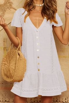 Buy Casual Dresses Summer Dresses For Women at JustFashionNow. Online Shopping Justfashionnow Shirt Dress Mini Dresses Casual Dresses Buttoned Laser Cut Date Shift V Neck Buttoned Short Sleeve Sweet Dresses, The Best Date Summer Dresses. Frack, Short Sleeve Dresses, Dresses With Sleeves, Linen Dresses, Casual Dress Outfits, Casual Summer Dresses, Dress Summer, Sweet Dress, Boho Dress