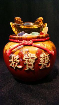 聚寶盆-五行水晶(黃水晶金元寶) NT1688
