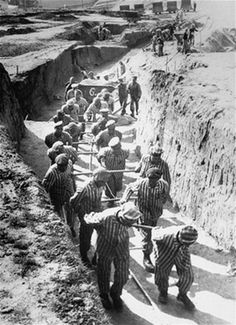 Slave labor at Mauthausen-Gusen Concentration Camp (1938 - 1945) in Austria. Unlike many other concentration camps, which were intended for all categories of prisoners, Mauthausen was mostly used for extermination through labour of the intelligentsia, who were educated and members of the higher social classes in countries subjugated by the Nazi regime.