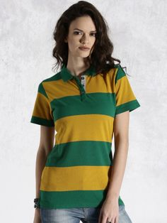 Buy Roadster Mustard Yellow   Green Striped Polo T Shirt - Tshirts for Women   9ab1d52651