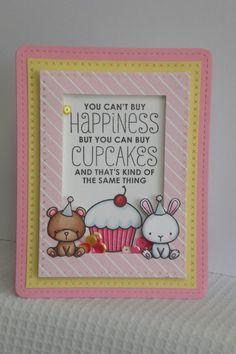 Handmade greetings card, Mama Elephant, Carnival Cupcakes shaker card by Daisyjaynesdesigns on Etsy