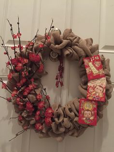 Chinese New Year cherry blossom burlap wreath