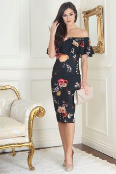 Mia Autumn Floral Ruffle Off the Shoulder Dress