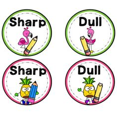 Use these adorable flamingo and pineapple labels to help your students organize the sharp and dull pencils! First Grade Classroom, New Classroom, Classroom Setting, Kindergarten Classroom, Classroom Themes, Classroom Organization, Pencil Labels, Sharp Pencils, 1st Grade Worksheets