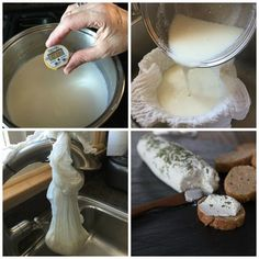 How to make goat cheese or chevre: An easy and delicious recipe you can make at home. Ready in two hours or less. Great on toast or salads. No goat required! Goat Milk Recipes, Goat Cheese Recipes, How To Make Cheese, Food To Make, Making Cheese, Homemade Goats Cheese, Clean Eating Snacks, Queso, Love Food