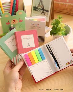 Colorful Sticky Notes Portable Post-It Notes With A Pen Memo Paper Stickers Home/Office Color Random