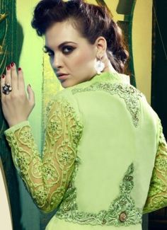 Green Georgette embroidered designer party wear salwar kameez, kameez sleeve and york crafted with self color resham embroidery aplic cut work patch. Approx top length 53 to 54 inches. Kameez with chiffon dupatta & satoom buttom.