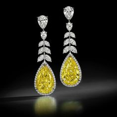 Beautiful pair of yellow sapphire diamond earrings that will let you shine everywhere. Sapphire Jewelry, Sapphire Earrings, Diamond Jewelry, Sapphire Gemstone, Sapphire Diamond, Hanging Earrings, Drop Earrings, Yellow Jewelry, Wedding Earrings