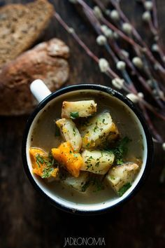 Vegan sour rye soup with baked potatoes Vegan Foods, Vegan Vegetarian, Vegetarian Recipes, Soup Recipes, Diet Recipes, Healthy Recipes, Yummy Recipes, Food To Make, Food Photography