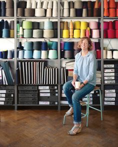Eleanor Pritchard's textiles nod to British modernism and local craft. Thanks to a new upholstery line, she's poised to become an industry name. Yarn Storage, Studio Organization, Textiles, Sewing Studio, Space Crafts, Material Girls, Textile Design, Textile Art, Fabric Patterns
