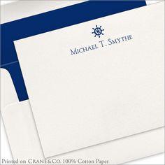 Letterpress Captains Wheel Flat Notecards