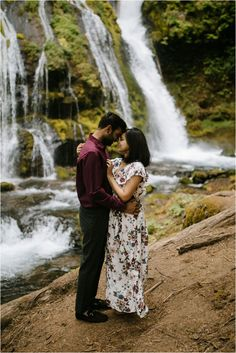A floral maxi dress plus a maroon shirt for him. Engagement photos at Panther Creek Falls by Katy Weaver Photography Engagement Photo Outfits, Engagement Photos, Maroon Shirts, Floral Maxi Dress, Panther, Couple Photos, Photography, Couple Shots, Engagement Pictures