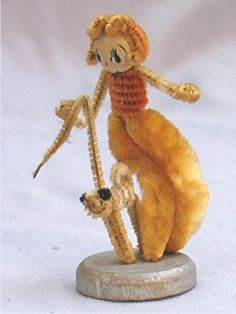 Vintage Chenille Pipe Cleaner Figurine Girl Walking A Dog | eBay
