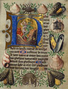 """""""I diavoli gettano i dannati nella bocca dell'Inferno"""", pagina tratta dalle 'Van Alphen Hours' (Fiandre, metà XV secolo), Walters Museum, Baltimora."""