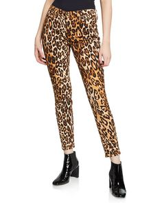 7 for all mankind Ankle Skinny Mid-Rise Leopard-Print Jeans Cropped Skinny Jeans, Skinny Legs, Leopard Print Skirt, Stretch Denim, Cotton Spandex, Harem Pants, Clothes For Women, Fashion Design, Print Jeans