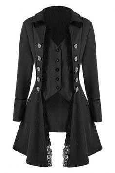 1497cf82e2e Toimoth Women Long Sleeve Retro Lace Trim Button Up Vintage Irregular  Tailcoat Outwear Coat (Black