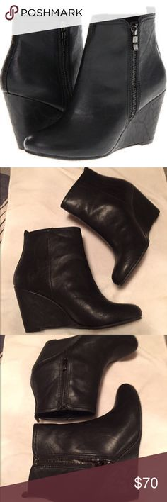 "BCBG Generation Weslee wedge blk leather 8/38 BCBG Generation Weslee Wedge Boots blk leather woman's 8/38. Height 3"" shaft 5"". Like new in box. Can't remember msrp, believe were 100+?  Worn 1x in house, weren't wide enough for me when I was an 8. Weren't worn outside. No signs of wear. Boxkept. Make an offer. More pics avail. BCBGeneration Shoes Ankle Boots & Booties"