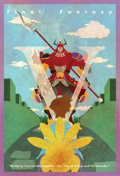 """Final Fantasy V Vintage Poster. """"Bridging two worlds together. The tale of a boy and his chocobo."""""""