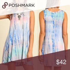 🆕SHERRIE  tie dye sleeveless dress - BLUE/PINK Super fun sleeveless I'm so ready for a festival dress. 🚨NO TRADE, PRICE FIRM🚨 striped Bellanblue Dresses