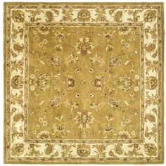 @Overstock.com - Add interest to your home decor with a hand-tufted rug Traditional rug features border pattern with rich shades of green, gold and rust Square rug is crafted of 100-percent wool with cotton backinghttp://www.overstock.com/Home-Garden/Handmade-Heritage-Tabriz-Mocha-Ivory-Wool-Rug-8-Square/4498693/product.html?CID=214117 $242.09