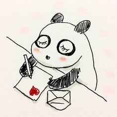 【一日一大熊猫】2017.5.23 ラブレターの日と言う可愛らしい日があるんだね。 最近はラブレターってあるのかなぁ。 ラブLINEとかかなぁ。 #パンダ #ラブレター #恋文