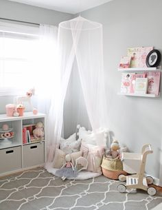 A dreamy little girl playroom with lots of storage, pretty blush details and tons of ideas for a small-but-functional play space. Playroom Storage, Playroom Design, Playroom Decor, Kids Room Design, Playroom Ideas, Little Girls Playroom, Toddler Playroom, Toddler Bed, Playroom Flooring