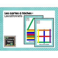 Les cartes à tâches : Les bâtonnets (préscolaire) Montessori Math, Busy Bags, Document, French Language, Education, Perception, Classroom Ideas, School, Logic Games