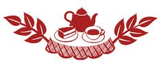 Retro Clip Art Tea Time Silhouettes -- also come in black, yellow, and aqua