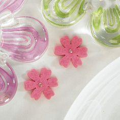 Felt Flowers with Diamonette Center - Lavender