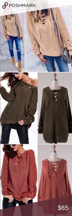 XX ALIA solid sweater tunic top - DEEP BEIGE solid sweater tunic with criss cross self-tying strap. THIS LISTING IS for BEIGE.  PLS NOTE SLEEVE LENGTH WILL VARY DEPENDING ON EACH PERSONS HEIGHT & ARM LENGTH   55% Cotton 45% Acrylic   AVAILABLE IN OLIVE & MARSALA.   NO TRADE   PRICE FIRM Bellanblue Sweaters