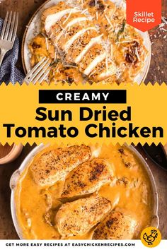 Made with sun dried tomatoes, parmesan, spices, chicken breasts and heavy cream, this Creamy Sun Dried Tomato Chicken recipe is a real comfort food dish. Kid Friendly Chicken Recipes, Italian Chicken Recipes, Chicken Skillet Recipes, Sauteed Spinach, Sauteed Vegetables, One Pot Chicken, Yum Yum Chicken, Crockpot Mashed Potatoes, Chicken Paprikash