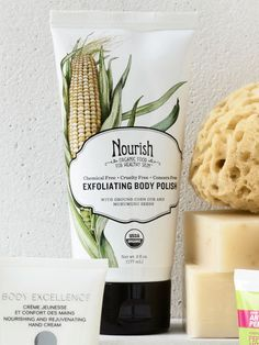 Nourish - Made with ground corn cobs and rice, this organic exfoliator sloughs away dry patches to reveal younger-looking skin.