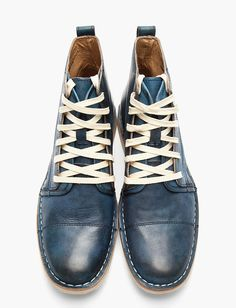 Sick shoes John Varvatos blue leather double lace Barrett Boots